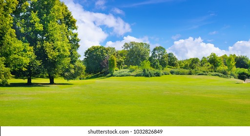 Summer park with deciduous trees and broad lawns. In the blue sky, light cumulus clouds. Wide photo.