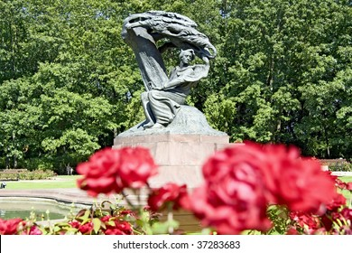 Summer park with monument of Chopin-Warsaw, Poland.