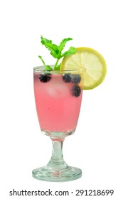 Summer party drink Cold fresh blueberry lemonade with mint