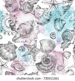Summer Party holiday background, watercolor illustration. Seamless pattern with sea shells, molluscs, text and color splashes. Tropical texture. Can be used for a poster, printing on fabric.