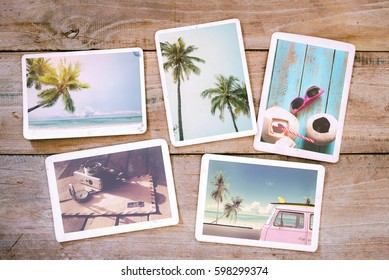 Summer photo album on wood table. Photography from beach vacation - vintage postcards and retro styles