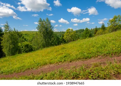 Summer photos, knoll, hills, birch trees grow on the slopes of the mountains, a winding dirt road along the slope, summer hot days - Shutterstock ID 1938947665