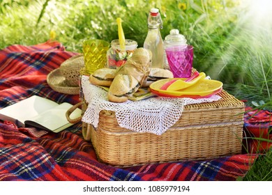 summer picnic on the grass with food and juice on  wicker basket hamper