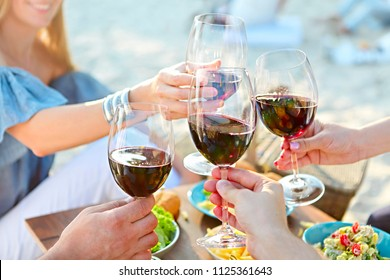 Summer picnic with red wine. Outdoor party or celebration