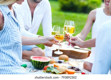 Summer picnic with white wine. Outdoor party or celebration