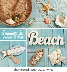 summer pictures collage with top view of beach accessories and letters on blue wooden board
