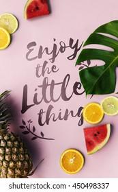 Summer Pineapple Oranges Watermelon Concept