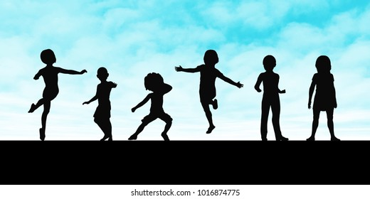 Summer Playtime Outdoors with Children Playing Outside