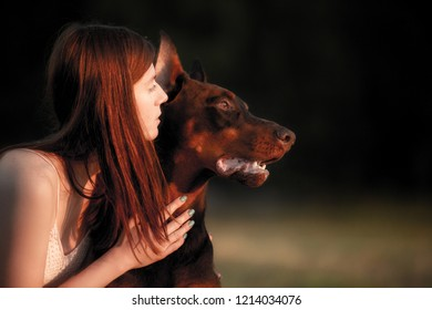 summer portrait of a beautiful young girl and dog breed doberman