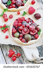Summer puff pastry tarts with various fresh berries.