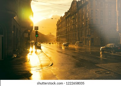 Summer rain on the street of Riga