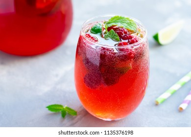 Summer raspberry beverage with sparkling water