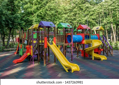 Summer, recreation area - playground, complementary colors of sports facilities, simulators
