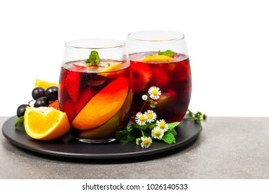 Summer Red Wine Sangria Drink Isolated on White Background. Selective focus.