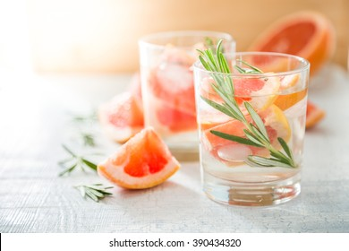 Summer refreshing drink and ingredients, copy space