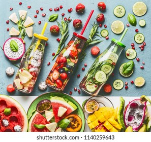 Summer refreshing and extra hydrating infused water in bottles with ingredients, top view. Various fruits and berries water flavor combinations. Summer drinks. Healthy and clean detox beverages.