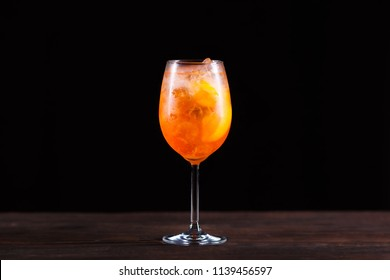 Summer refreshing iced aperitif cocktail with orange bitter and soda, cold drink, party, bar concept