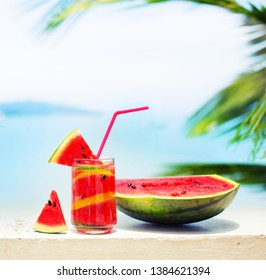 summer relax background with Watermelon drink in glass with slices of watermelon