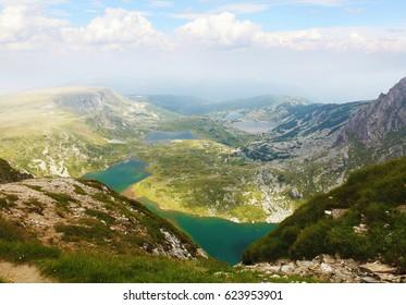 Summer Rila Lakes Panoramic View, Rila Park, Bulgaria