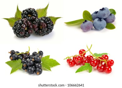 summer ripe berries with leaves on white background