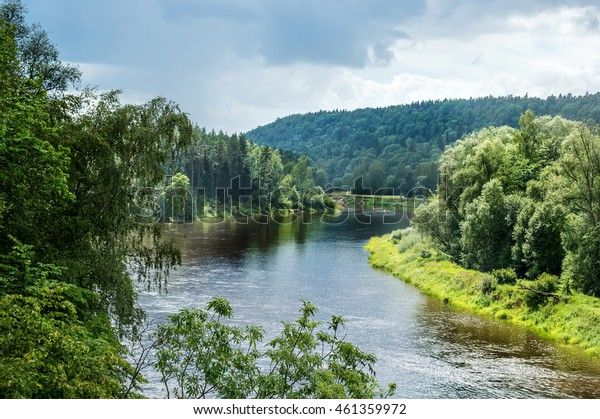 summer river in Sigulda, Latvia