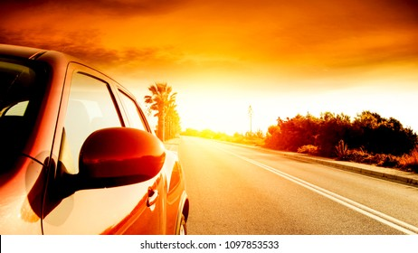 Summer road background with free space for your decoration and sunset time.
