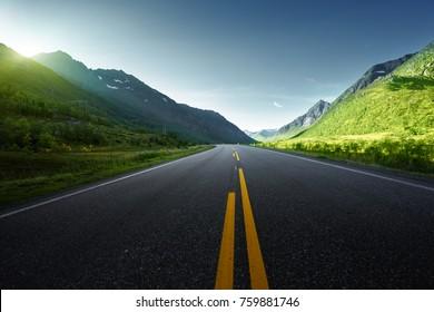 summer road in mountain, Lofoten islands, Norway