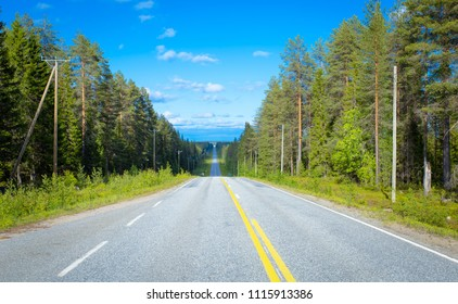 Summer road view from Sotkamo, Finland.