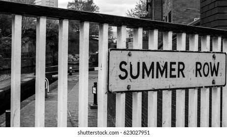 Summer Row Street Sign Black and White Shallow Depth of Field