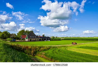 Summer rural farm field landscape. Farmland in summer scene. Summer rural farm house view. Farm house in farmland - Shutterstock ID 1788613568