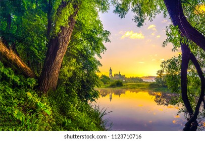Summer rural river sunset landscape. Forest river shore sunset fog view. Sunset river shore panorama