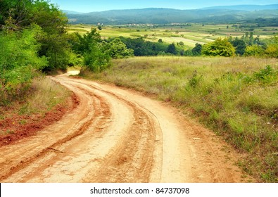 summer rural road and landscape of central Serbia