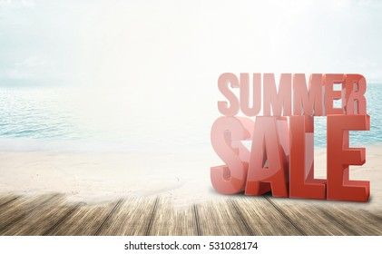summer sale beach ocean sunny 3d render