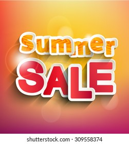 Summer Sale collection. Raster copy summer background with bokeh. Text design.
