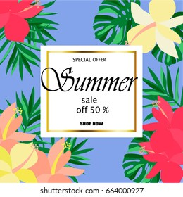 Summer sale Concept. Summer background with tropical flowers. Template .