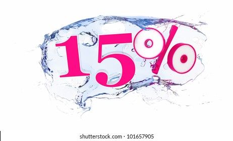 Summer sale or discount tags 15 percent water splash