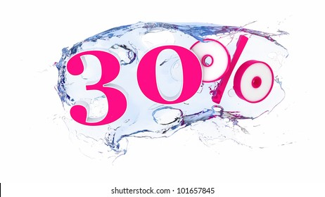 Summer sale or discount tags 30 percent water splash