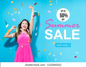 Summer sale with happy woman with confetti on a blue background