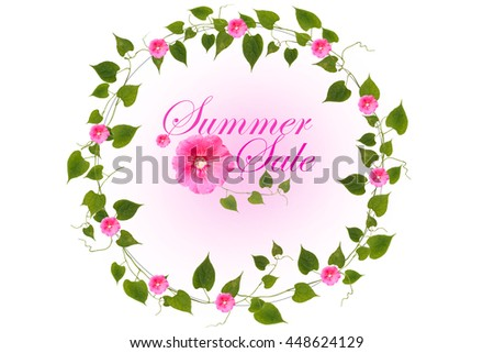 Summer Sale Messages Wreath Pink Flowers Stock Photo Edit Now