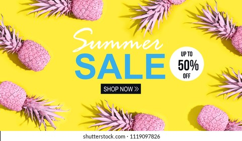Summer sale with painted pineapples on a vivid yellow background