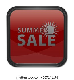 Summer sale square icon on white background