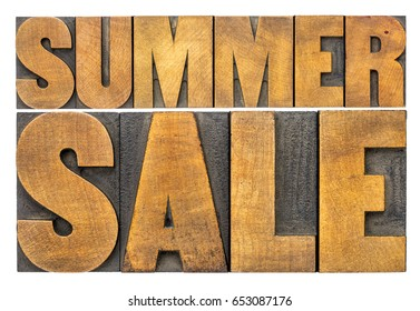 summer sale -  word abstract in wood type isolated on white