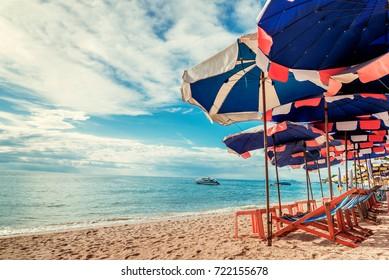 Summer Sand Beach with Activity in Sunshine Day at Pattaya , Thailand