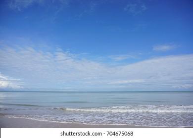 Summer sand beach and sea at Tusan Beach, Sarawak, Malaysia.