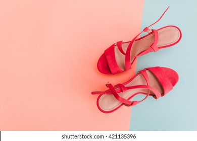 Summer Sandals on pastel backgrounds. Fashion style Minimalism Set. Flat lay, Top view.