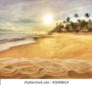 Summer sandy beach with palm trees, free space for product placement
