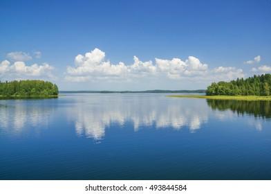 Summer scene. Lake Valdayskoye (Valdai). Russia