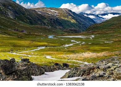 Summer scenery in Jotunheimen national park in Norway