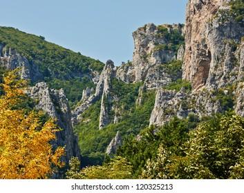 Summer scenery with mountain and rocks near Vratsa town, Bulgaria