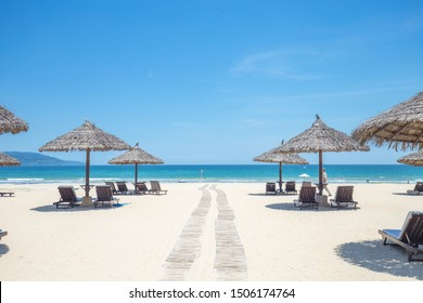 Summer Scenic Area on the Sea of Danang Mikke in Vietnam